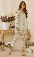 """This Straight silhouette shirt paired with pants from our Eid Collection  """"Escapade"""" is made of opulent floral embroidery on hemline which is further enhanced with Block Printing techniques. The neckline is made of pearls and light-catching crystals."""
