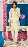 Chic, semi-formal straight kameez embellished with laces and embroidery with tulip pants.