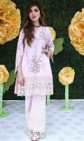 Chic, semi-formal A-line kameez embellished with lace and embroidery.