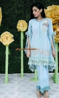 Chic, semi-formal A-line kameez with a hi-lo hemline and hanging sleeves. It is embellished with lace and embroidery.