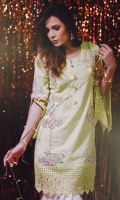 Chic, semi-formal straight kameez embellished with lace and embroidery.