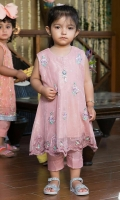 Blush pink sleeveless scallop bordered net kalidar with pants.