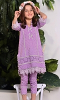 Mayflower lilac chikan kurta with an embroidered neckline and matching pants.