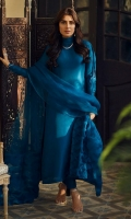 80-gram teal blue raw silk cowl neck long shirt paired with an organza fabric manipulated dupatta.