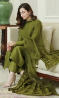 Crisp olive green raw silk matching separates paired with a sheer organza fabric manipulated dupatta.