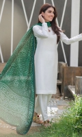 Crisp white raw silk matching separates paired with a Brunswick green crepe silk chunri dupatta.