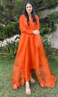 Crisp spectrum orange raw silk matching separates paired with a sheer organza appliquéd lace border dupatta.