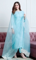 Steel blue raw silk long kurta paired with a sheer organza dupatta enhanced with appliqued borders.