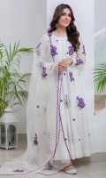White cotton net kalidar with purple floral motifs paired with a sheer scalloped organza dupatta.