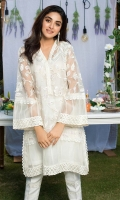 All white organza kurta with pearl, Japanese beads and sequins work. Paired with white embellished cigarette pants.