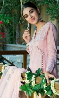 Net powder pink anarkali with honey comb accents paired with straight pants and a frill infused dupatta.