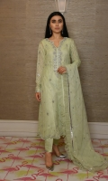 Silver gota work on chiffon chikankari, Raw silk straight pants, Double net dupatta with silver gota lines and net frills.