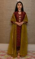 Maroon jamawar with open Hyderabadi neckline and jumkah buttons with izaar.