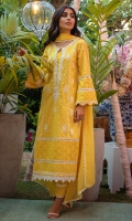 Pineapple yellow schiffli kurta with white embellishments paired with pants and a chiffon block printed dupatta.
