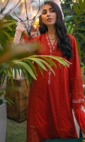 Scarlet red schiffli kurta with embroidery and mirror detailing paired with pants and a chiffon block printed dupatta.