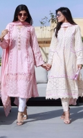 Sand schiffli kurta with embroidery paired with pants and a powder pink chiffon digital printed dupatta.