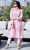 Dusty pink schiffli kurta with embellishments paired with gota pants and a chiffon block printed ruffled dupatta.