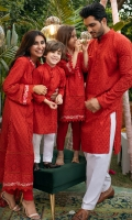 Scarlet red schiffli kurta with shalwar.
