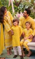 Pineapple yellow schiffli kurta with shalwar.