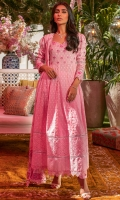 Taffy pink schiffli anarkali with a sweetheart neckline and puffed sleeves paired with pants and a chiffon block printed dupatta.
