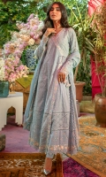 Sky blue schiffli angarkha with pastel embroidery and block printing paired with pants and a chiffon block printed dupatta.