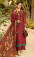 • Chikan embroidered front on dyed fabric (1.25 Yards) • Embroidered sleeves and back on dyed fabric (2 Yards) • Embroidered neckline on organza • Embroidered sleeves lace (30 inches) • Embroidered lace for trouser (30 inches) • Digital printed Chiffon dupatta • Dyed trouser