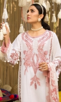 • Embroidered front on dobby fabric (1.25 Yards) • Sleeves and back on dobby fabric (2 Yards) • Embroidered sleeves lace (30 inches) • Embroidered daman lace (30 inches) • Embroidered front lace (60 inches) • Digital printed chiffon dupatta • Dyed trouser