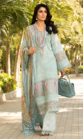 • Schiffli embroidered front on dyed fabric (1 Meter) • Schiffli embroidered sleeves on dyed fabric (0.75 Meter) • Schiffli embroidered back on dyed fabric (1.25 Meter) • Embroidered neckline • Embroidered lace for front and sleeves (1.66 Yards or 60 inches) • Floral daman (5 flowers) • Digital printed Chiffon dupatta • Dyed trouser