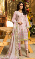 • Embroidered front on dyed fabric (1.25 Yards) • Embroidered sleeves on dyed fabric (0.75 Meter) • Embroidered back on dyed fabric (1.25 Yards) • Embroidered border for front (30 inches) • Digital printed silk dupatta • Dyed trouser