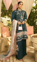 • Digital printed embroidered front (1.25 Meter) • Sleeves on dyed fabric (0.75 Meter) • Digital printed back (1.25 Meter) • Embroidered lace for front and sleeves (1.66 Yards or 60 inches) • Embroidered daman lace (30 inches) • Embroidered trouser motif (2 pcs) • Digital patti for front and sleeves (60 inches) • Digital printed Silk dupatta • Dyed trouser
