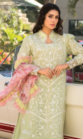 • Embroidered front on dyed fabric (1.25 Meter) • Embroidered sleeves on dyed fabric (0.75 Meter) • Digital printed back (1.25 Meter) • Embroidered side panels (0.5 Yards) • Front back and sleeves laces (2.5 Yards) • Digital printed Chiffon dupatta • Dyed trouser