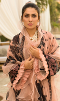 • Digital printed and embroidered front (1.25 Yards) • Digital printed back and sleeves (2 Yards) • Embroidered border for front and sleeves (60 inches) • Embroidered lace for front and back (104 inches) • Digital printed patti for the front, back, and sleeves • Digital printed Chiffon dupatta • Dyed trouser