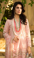 • Embroidered front on dyed fabric (1 Meter) • Embroidered sleeves on dyed fabric (0.75 Meter) • Embroidered back on dyed fabric (1.25 Meter) • Front back and sleeves laces (2.5 Yards) • Front and neck lace (2.5 Yards) • Chikan embroidered front, back and sleeves border (2.5 Yards) • Digital printed silk dupatta • Dyed trouser