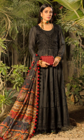 • Sequined embroidered front and back on dyed fabric (4 Yards) • Sequined embroidered sleeves on dyed fabric (0.75 Meter) • Embroidered front yoke on Organza • Sequined embroidered border for front and back (90 inches) • Sequined embroidered front yoke on dyed fabric • Digital printed Silk dupatta • Dyed trouser
