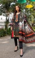 Shirt: Printed Cambric (3 meters) Dupatta: Printed Lawn Doriya (2.5 meters) Trouser: Dyed Cambric (2.5 meters)