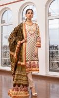 Shirt: Printed Lawn (3 meters) Dupatta: Printed Lawn (2.5 meters) Trouser: Dyed Cambric (2.5 meters)