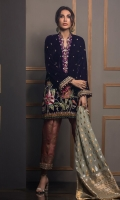 Pure velvet straight silhouette shirt in shade of deep violet featuring floral embroidered motifs incorporated with dabka, naqshi, gota and hand embroidered zardoze techniques. The neckline is further enhanced with maroori and dabka work. The hemline of the shirt is made of handmade swarovski tassels. The shirt is paired with block printed izaar pants with hand embroidered gota border on the hemline. Pure silk dupatta with zari borders makes this a headturning ensemble.