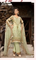 Digital Printed Embroidered Front Digital Printed Back and Sleeves Organza Embroidered Border Digital Printed Chiffon Dupatta Dyed Cambric Trouser