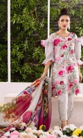 Fully embroidered front on dyed lawn. Embroidered daman border for front. Digital printed lawn for back 1.25 yards. Digital printed lawn for sleeves 0.69 yard. Digital printed dupatta on tissue silk 2.5 meters. Plain dyed cotton trouser 2.5 meters.
