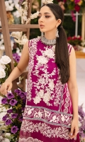 Fully embroidered central panel on dyed lawn. Schiffli embroidered side panel. 3D embroidered flowers for front. Embroidered daman patti on dyed lawn for front. Embroidered daman patti on organza for front. Plain dyed lawn for back 1.25 yards. Embroidered daman patti for back on organza. Fully embroidered sleeves on dyed lawn 0.69 yard. Additional embroidered border for sleeves. Tie & Dye tissue silk dupatta 2.5 meters. Embroidered patti for four sides of dupatta pallu on organza. Plain dyed cotton trouser 2.5 meters. Embroidered border for trouser.