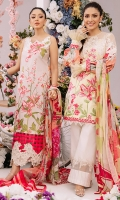 Fully embroidered front on dyed lawn. Floral embroidered neckline patch for front. Heavy embroidered daman border for front. Digital printed lawn for back 1.25 yards. Digital printed sleeves 0.69 yard. Digital printed dupatta on chiffon 2.5 meters. Plain dyed cotton trouser 2.5 meters.