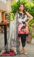 Embroidered front on digital printed lawn with 3D sequins floral motifs. Sequin embroidered 3D motif for neckline. Embroidered daman patti for front. Digital printed lawn for back 1.25 yards. Embroidered daman border back. Digital printed lawn for sleeves 0.69 yard. Embroidered patti for sleeves. Foil printed dupatta on dyed net with four sided embroidered patti. 4 floral patches, embroidered pallu for both sides dupatta. Dyed cotton trouser 2.5 meters. Embroidered border for trouser.