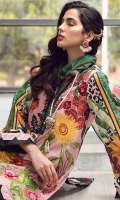 Silk digital printed dupatta 2.75 yards. Dyed heavy embroidered lawn front 1.25 yards. Digital printed lawn back 1.25 yards. Digital printed lawn sleeves 0.65 yard. Plain dyed cotton trouser 2.75 yards.