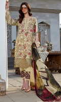 Pure silk digital printed dupata 2.75 yards. Dyed pima lawn embroidered front 1.25 yards. Embroidered daman border 1 meter. Digital printed lawn Back 1.25 yards. Digital printed sleeves 0.65 yards. Digital printed trouser 2.5 meters.