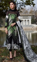 Pure silk digital printed dupata 2.75 yards . Embroidered dyed front 1.25 yards. Embroidered daman border 1 meter . Embroidered line fabric black 1 meter . Digital printed lawn Back 1.25 yards . Digital printed sleeves 0.65 yards. Dyed trouser 2.5 meters.