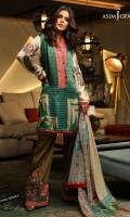 3 meter shirt front, back and sleeves (digital print) 2.5 meter dupatta (digital print) 1 meter embroidered border 2 embroidered bunches 2 embroidered motifs 2 meter dyed trouser