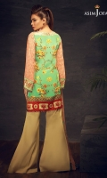 """45"""" Shirt front and back 26"""" sleeves 2.5 meter dupatta 2 meter trouser 1 meter chain Embroidered bunches (2)  1 meter embroidered border"""