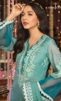 """All-over embroidered front 1 meter Embroidered applique patch neckline Embroidered applique patch daman border 28"""" Embroidered border 1.5 meter Dyed poly slub fabric for sleeves and back 2 meter Zari line organza (dupatta center) 1.5 meter Paste printed pallu 26 inch x 2 Dyed Indian cotton silk for trouser 2.5 meter"""