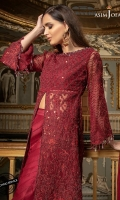 """2.3 Meter Embroidered Front and Back 2 Left and Right Embroidered Sleeves 1 Meter thin Embroidered Hand Work Border 30"""" Embroidered Daaman Border for Back 30"""" Embroidered Daaman Border for Front  2.5 Meter Dyed Trouser 2.5 Meter Embroidered Chiffon Dupatta"""