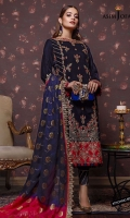 """Embroidered center panel (W=12"""" H=40"""") 2 Embroidered side panels (Right and Left) (W=7"""" H=40"""") Thin embroidered border 2 meter Front back embroidered border 52"""" 1 Embroidered Back bunch Plain velvet for back 1 meter Plain velvet for sleeves 0.6 meter Dyed raw silk trousers 2.5 meter Woven dyed chiffon dupatta 2.5 meter"""
